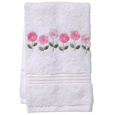 Row of Flower Fingertip Towel Color: White/Pink