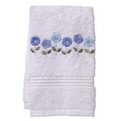 Row of Flower Fingertip Towel Color: White/Blue