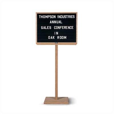 Marsh Single Pedestal Oak Double-Sided Open-Faced Free-Standing Letter Board, 1' H x 2' W