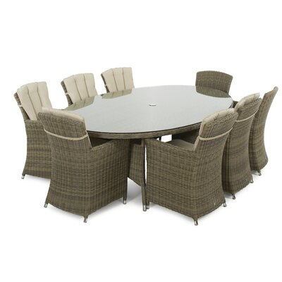 Maze Rattan Winchester Dining Table and 8 Chairs