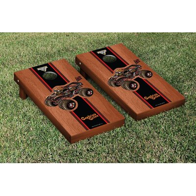 NCAA Stained Version Cornhole Game Set Color: Onyx, Team: Merrimack College MC Warriors