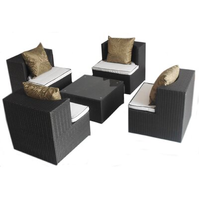Geo-Cube 5 Piece Sunbrella Conversation Set with Cushions