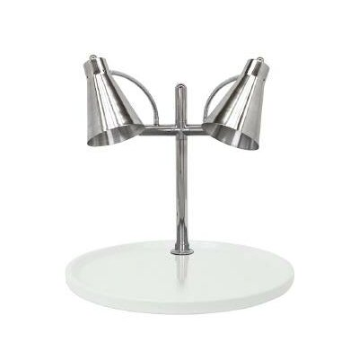 "Flex Dual Stainless Steel Lamp Round Carving Station Size: 27"" H x 24"" W x 24"" D, Base Finish: Grey Granite"