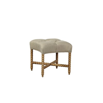Tufted Linen Accent Stool