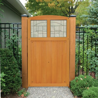Baycrest 5.7' x 3.6' Gate with Faux Glass Insert Finish: Amber