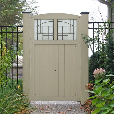 Baycrest 5.7' x 3.6' Gate with Faux Glass Insert Finish: Grey