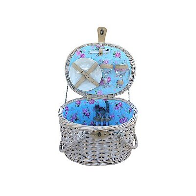 Willow Direct Ltd Swing Handle Picnic Basket with Cottage Rose Lining