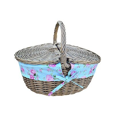 Willow Direct Ltd Picnic Basket with Cottage Rose Lining