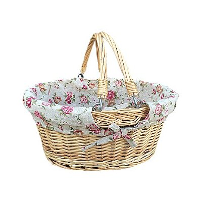 Willow Direct Ltd Swing Handle Shopper Basket with Rose Lining