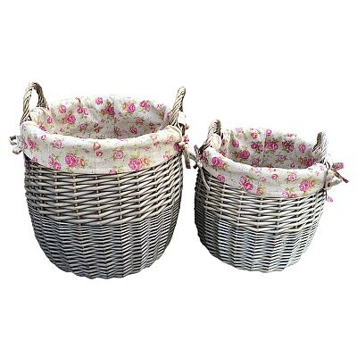 Willow Direct Ltd 2 Piece Lined Bin Set with Garden Rose Lining