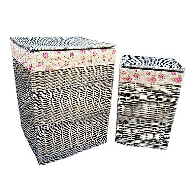 Willow Direct Ltd 2 Piece Laundry Basket Set with Garden Rose Lining