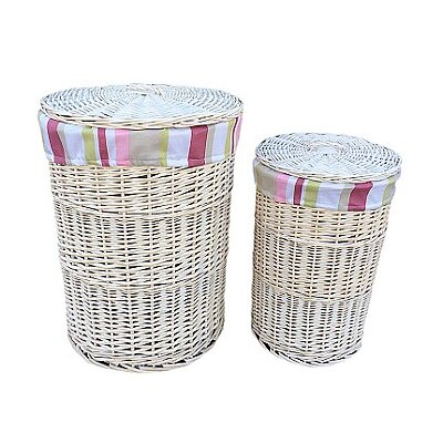 Willow Direct Ltd 2 Piece Laundry Hamper Set with Striped Lining
