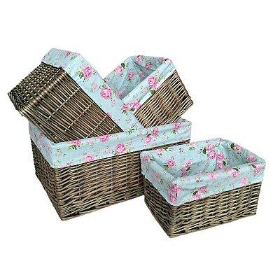 Willow Direct Ltd 4 Piece Storage Basket Set with Cottage Rose Lining