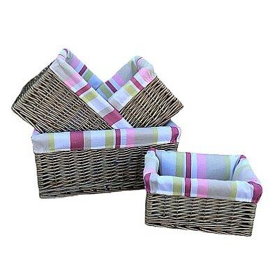 Willow Direct Ltd 4 Piece Storage Basket Set with Stripe Lining