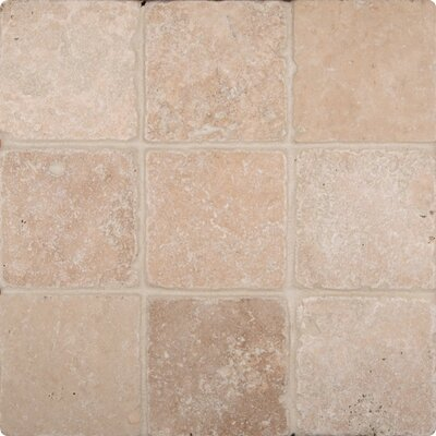 "MS International Tuscany Classic 4"" x 4"" Travertine Field Tile in Tumbled Beige"