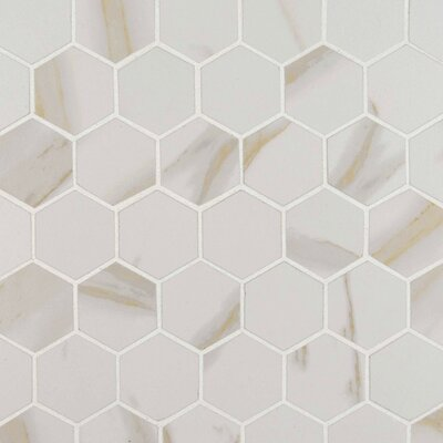 "Calcatta 2"" x 2"" Hexagon Porcelain Mosaic Tile in White"