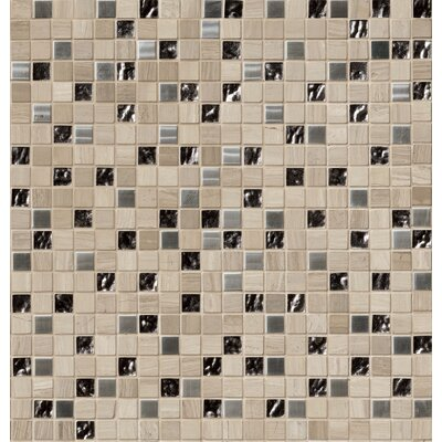 """1"""" x 1"""" Glass/Stone/Metal Mosaic Tile in Gray"""