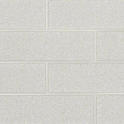 """Frosted Icicle 3"""" x 9"""" Glass Subway Tile in White"""