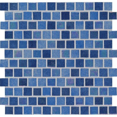 "Hawaiian Sky 1"" x 1"" Glass Mosaic Tile in Blue"