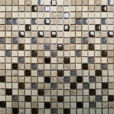 Crystallized 0.625'' x 0.625'' Glass Mosaic Tile in Caf Noce