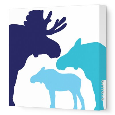 """Animals Moose Stretched Canvas Art Size: 18"""" x 18"""", Color: Blue Hue"""
