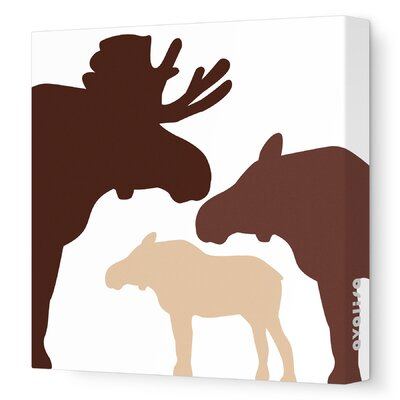 """Animals Moose Stretched Canvas Art Size: 18"""" x 18"""", Color: Brown Hue"""