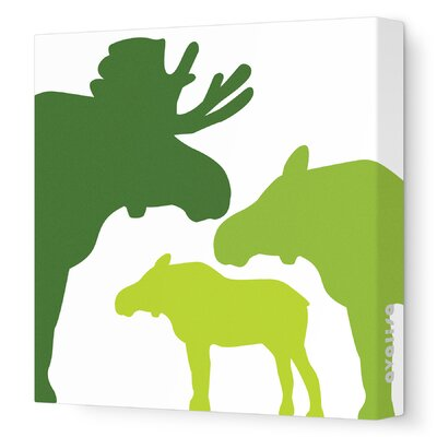 """Animals Moose Stretched Canvas Art Size: 18"""" x 18"""", Color: Green Hue"""