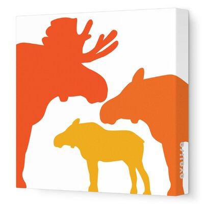 "Animals Moose Stretched Canvas Art Size: 12"" x 12"", Color: Orange Hue"
