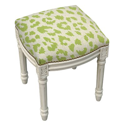 Tyre Rustic Cheetah Linen Upholstered Vanity Stool Color: Chartreuse