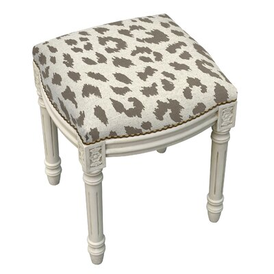 Tyre Rustic Cheetah Linen Upholstered Vanity Stool Color: Smoky Gray