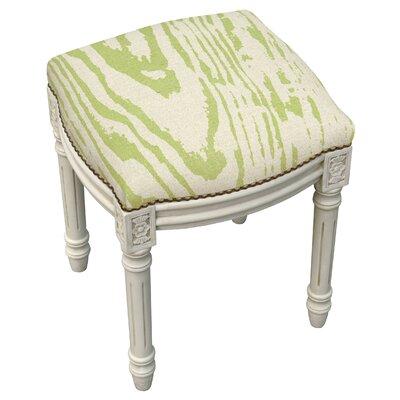 Frey Faux Bois Linen Upholstered Vanity Stool