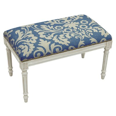 Floral Upholstered and Wood Bench Color: Blue