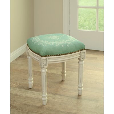 Clematite Napoleon Bee Linen Upholstered Vanity Stool Finish: Antique White, Color: Green