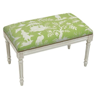 Floral Upholstered and Wood Bench Color: Mustard