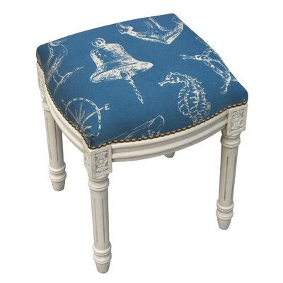 Nautical Linen Upholstered Vanity Stool with Nailhead Color: Navy Blue
