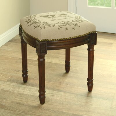 Cow Linen Upholstered Vanity Stool with Nailhead