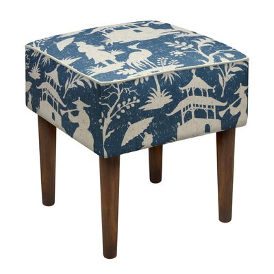 Chinoiserie Upholstered Vanity Stool Color: Navy Blue