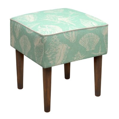 Seashells Upholstered Vanity Stool Color: Aqua