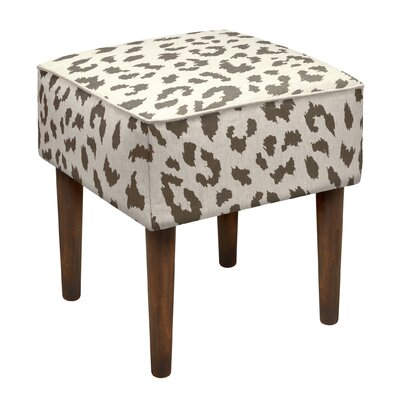 Tyre Cheetah Linen Upholstered Vanity Stool Color: Gray
