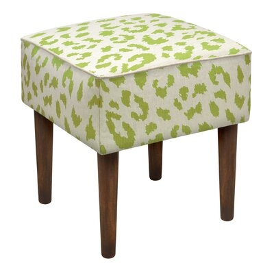 Tyre Cheetah Linen Upholstered Vanity Stool Color: Chartreuse Green
