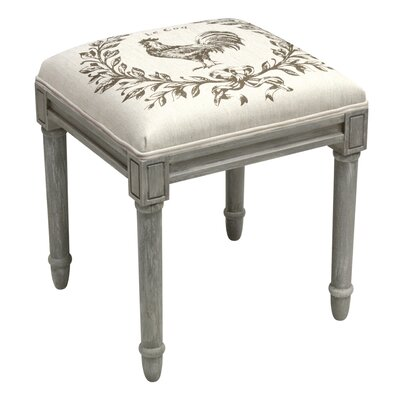 Rooster Vanity Stool Frame Color/ Top Color: Gray/Light Taupe