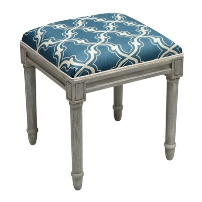 Frey Trellis Vanity Stool Color: Navy Blue