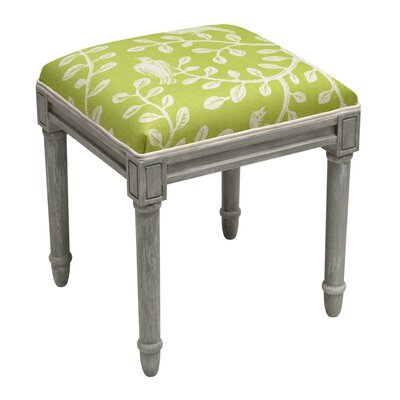 Birds on Vines Vanity Stool Frame Color/ Top Color: Gray/Chartreuse Green