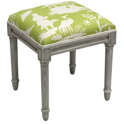Chinoiserie Vanity Stool Frame Color/ Top Color: Gray/Chartreuse Green