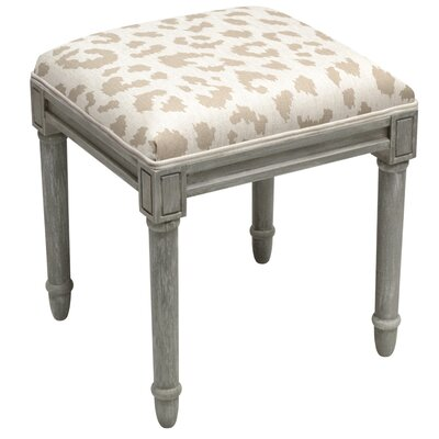 Tyre Leopard Pattern Vanity Stool Color: Light Taupe