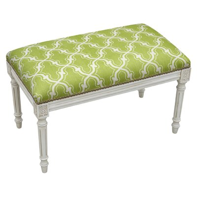 Frey Trellis Upholstered Bench Color: Chartreuse Green
