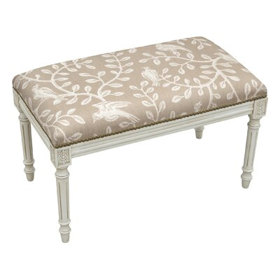 Birds and Vines Wood Bench Color: Taupe