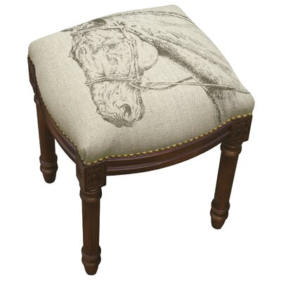 Equestrain Horse Linen Upholstered Wooden Vanity Stool