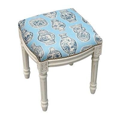 Chinoiserie Porcelain Linen Upholstered Wooden Vanity Stool Color: Blue
