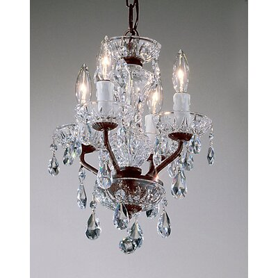Letitia Traditional 4-Light Candle Style Chandelier Crystal Type: Swarovski Spectra, Finish: Gold Plated